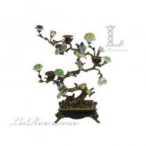 【美國 Castilian】純銅陶瓷手繪樹枝鳥燭台