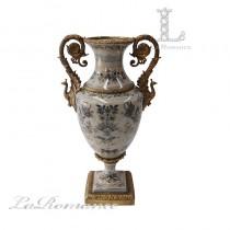 【美國 Castilian】純銅陶瓷手繪貴族孔雀把手花器