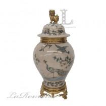 【美國 Castilian】純銅陶瓷手繪孔雀將軍罐 (小)