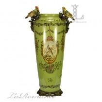【美國 Castilian】純銅陶瓷手繪花鳥綠色高筒形花器
