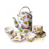 【芮洛蔓 La Romance】東情西韻系列蝴蝶中式手繪茶具組