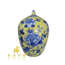 【芮洛蔓 La Romance】東情西韻系列手繪黃底藍牡丹圓罈13吋