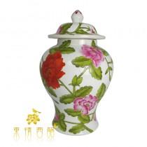 【芮洛蔓 La Romance】東情西韻系列手繪洋紅牡丹花將軍罐13吋