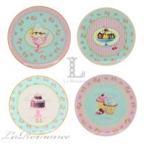 【芮洛蔓 La Romance】義大利 Lamart - 夢幻甜點系列8吋點心圓盤 (四件組)