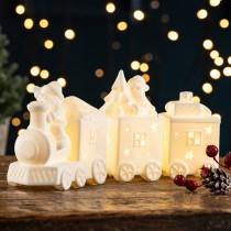 【英國 BELLEEK LIVING 聖誕系列】聖誕三節火車LED夜燈