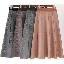 【針織長裙 】撞色斜紋針織長裙