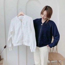 【拼花外套】拼織花大珍珠拉鏈棉外套✧黑、白、灰、藍共4色