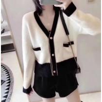 【針織外套】金釦小香風水貂絨針織外套✧黑、白共2色