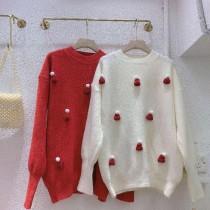 【聖誕限定】立體毛帽羊絨針衣✧紅、白共2色