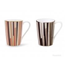 【日本NARUMI】Shagreen Mug 多條紋骨瓷馬克杯對杯組